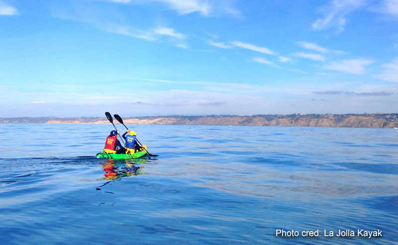2 Kayakers paddling their green kayak in the ocean off the coast of La Jolla Shores seen in the background with a clear blue sky above them