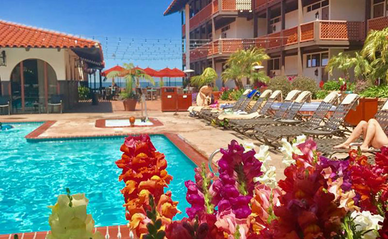 Flowers in front of the Pool Area and Outdoor Courtyard in the foreground with balconies from the surrounding La Jolla Shores Hotel in the background.