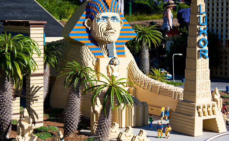 The Luxor Hotel & Casino in Las Vegas as a LEGO Architecture Model at Legoland California.