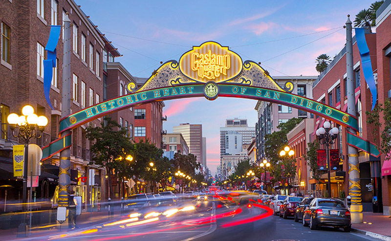 View of Gaslamp Quarter in the heart of downtown San Diego at night.