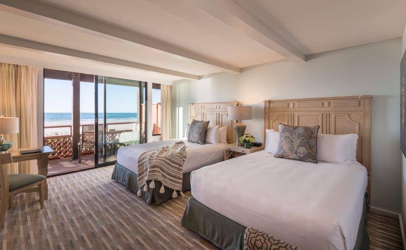 La Jolla Shores Hotel beachfront room with two queen beds, overlooking the ocean