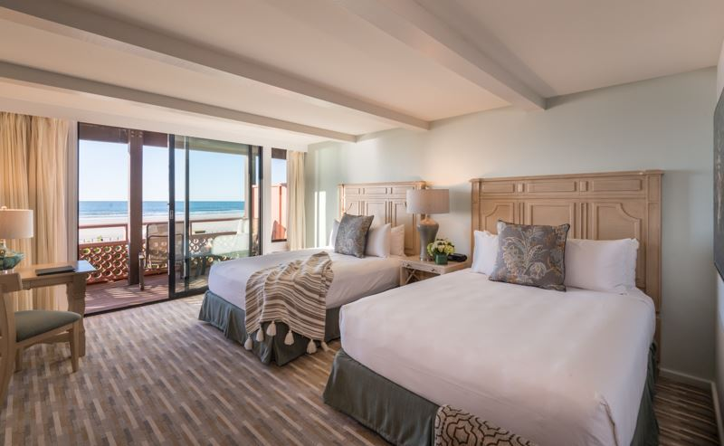 La Jolla Shores Hotel beachfront room with two queen beds, overlooking the ocean