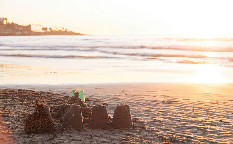 Sand castles at La Jolla Shores beach