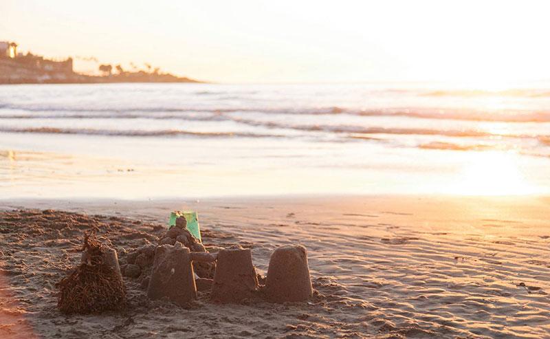Sand castles at La Jolla Shores beach