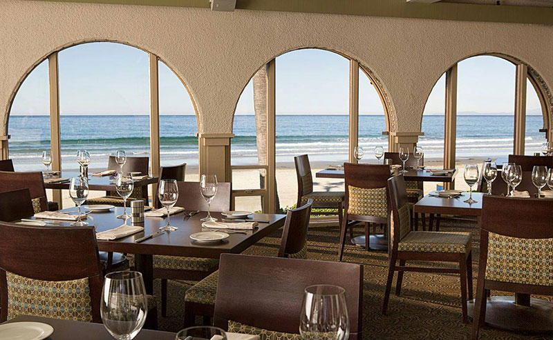 Tables set up at the La Jolla Shores restaurant overlooking the beach