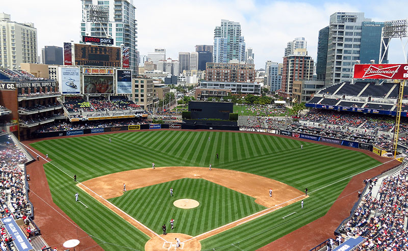 An aerial shot of Petco Park in Downtown San Diego