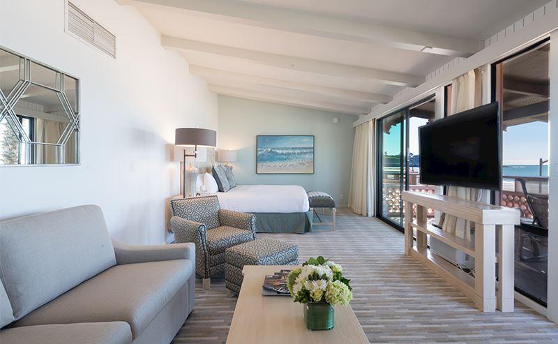 La Jolla Shores Hotel beachfront deluxe room view to oceanfront balcony