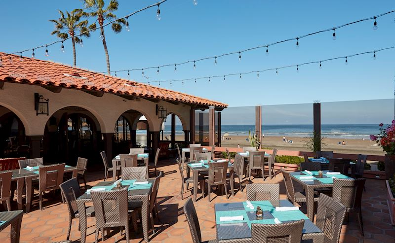 Shores Restaurant patio with daytime oceanview