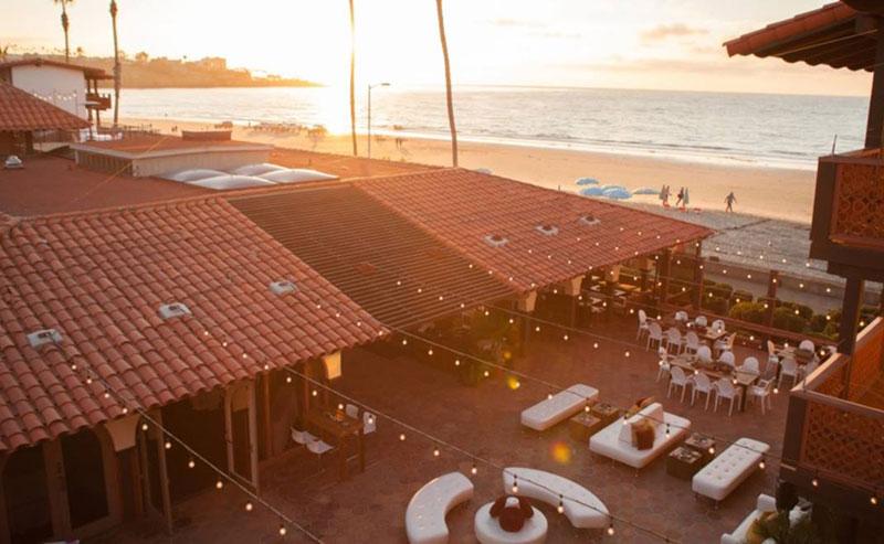 La Jolla Shores Hotel balcony view overlooking the Shores Patio and La Jolla Shores beach