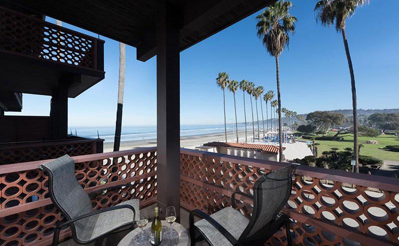 La Jolla Shores Hotel private balcony overlooking La Jolla Shores beach