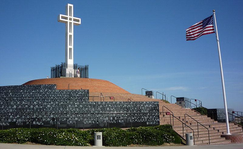 One of La Jolla's historical landmarks, Mt. Soledad National Veterans Memorial