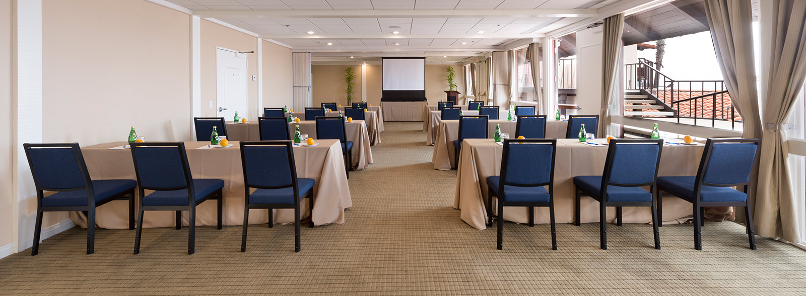 La Jolla Shores Hotel meeting room setup with chairs and tables