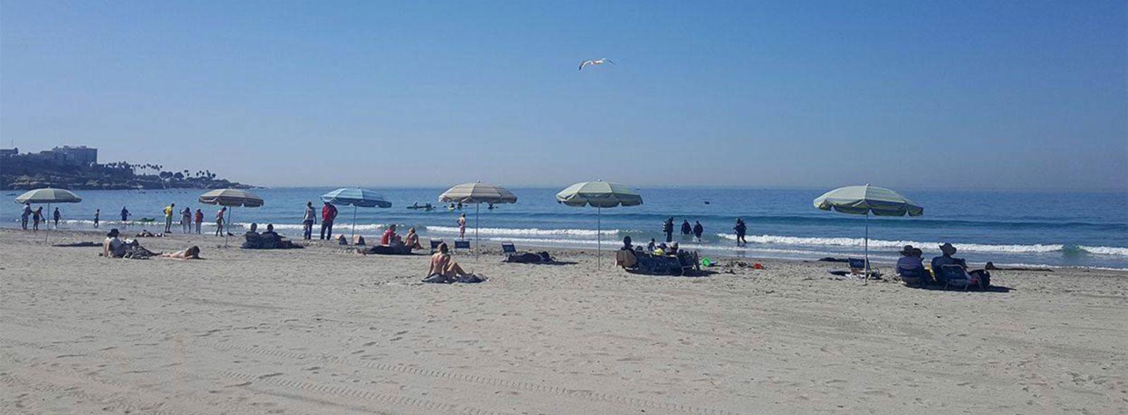 La Jolla Shores Hotel umbrellas and beach chairs set up at La Jolla Shores Beach