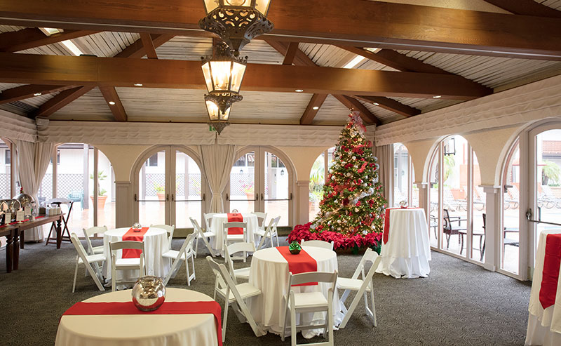 La Jolla Room set up with festive decorations